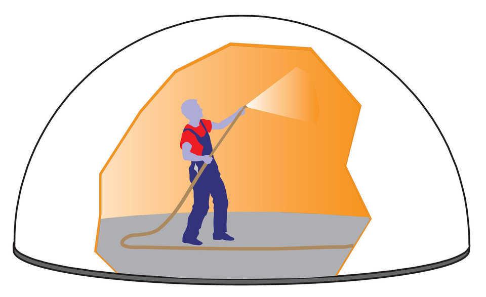 KingDome Construction Process Step 3 - spraying foam